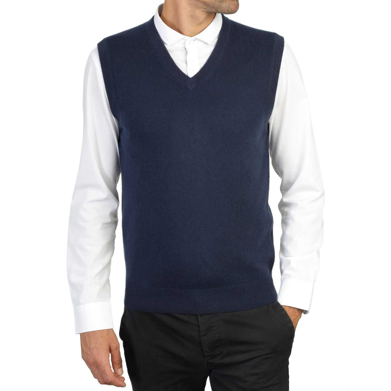 Mens Navy Blue Cashmere Sleeveless Vest Sweater | Front | Shop at The Cashmere Choice | London
