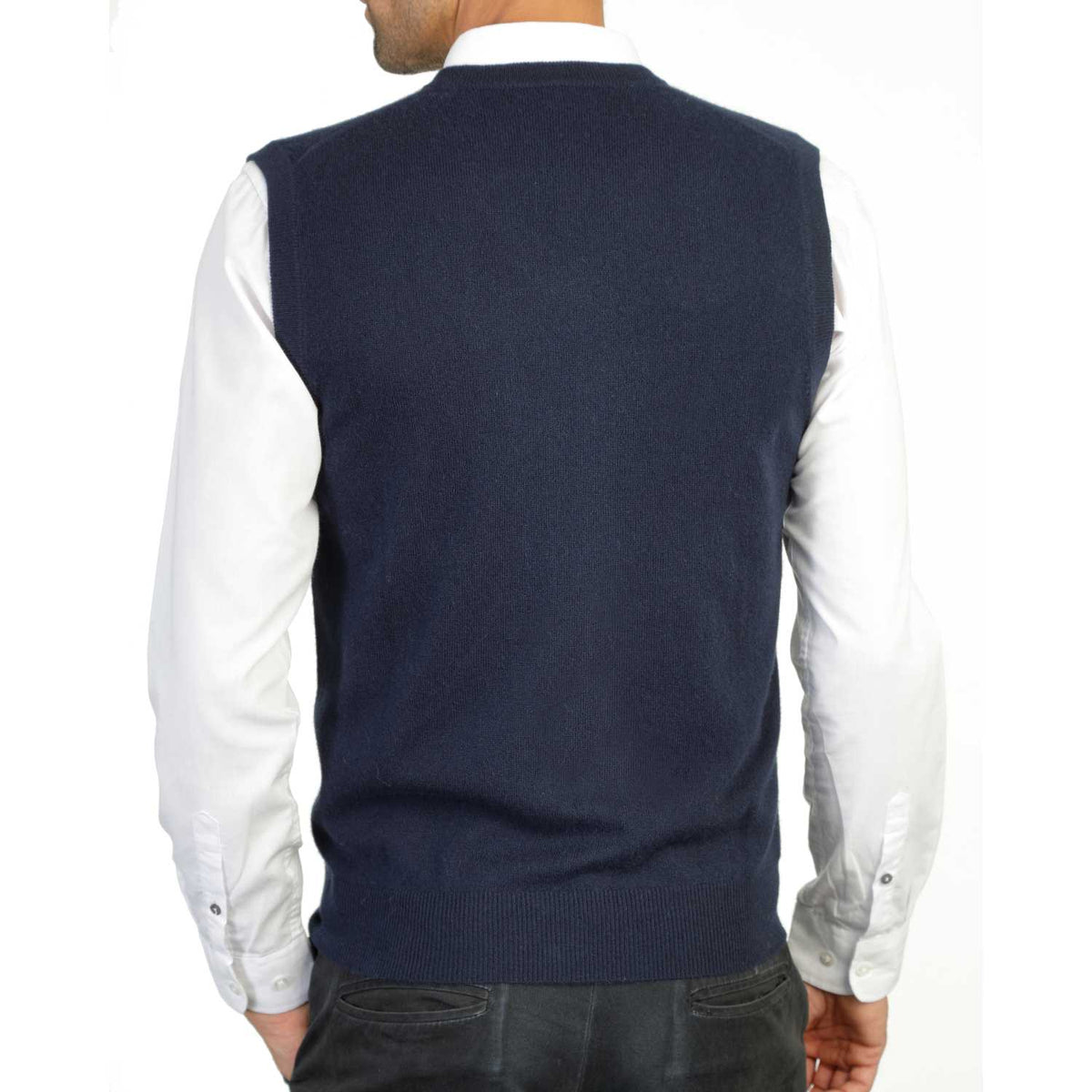 Mens Navy Blue Cashmere Sleeveless Vest Sweater | Back | Shop at The Cashmere Choice | London