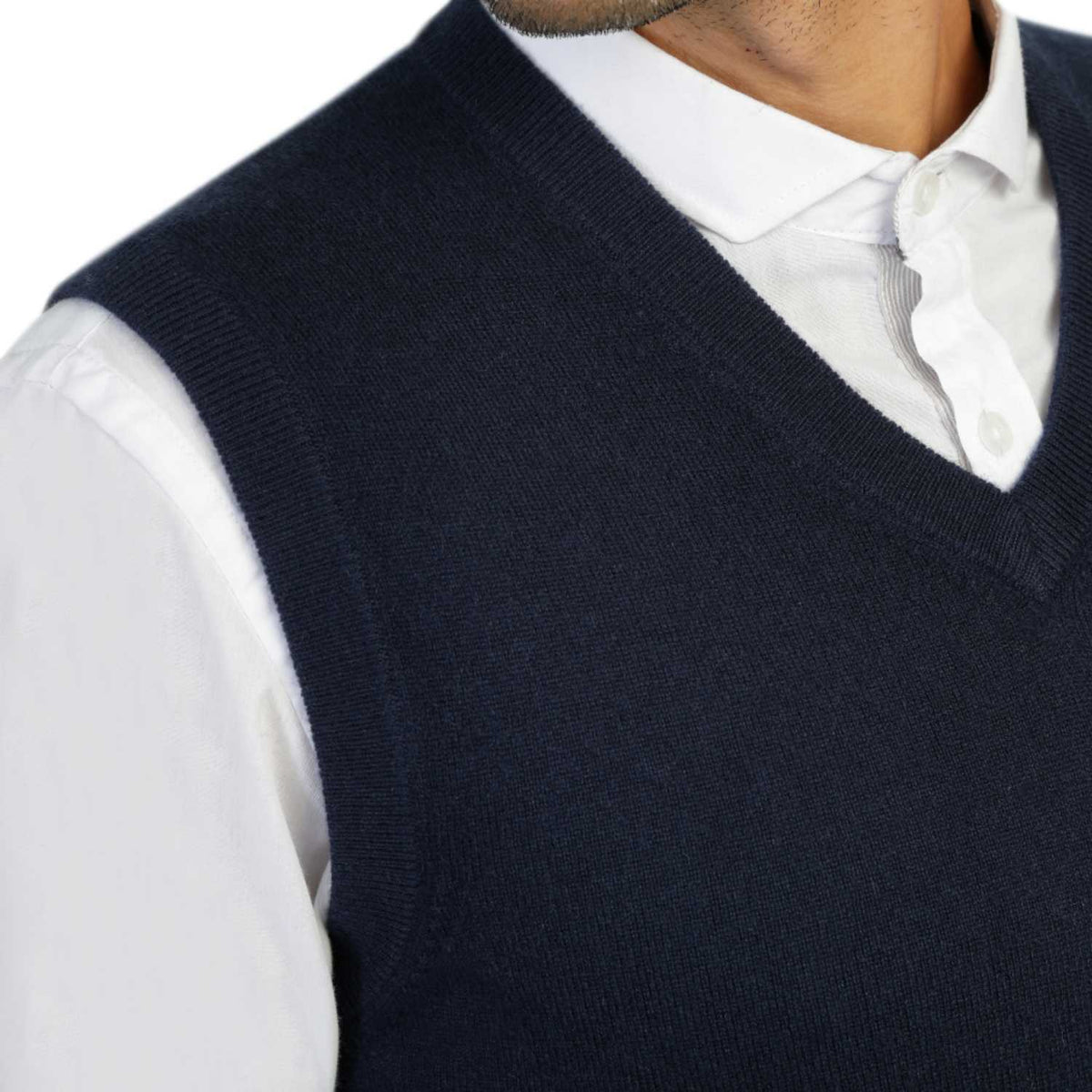Mens Navy Blue Cashmere Sleeveless Vest Sweater | Close up | Shop at The Cashmere Choice | London