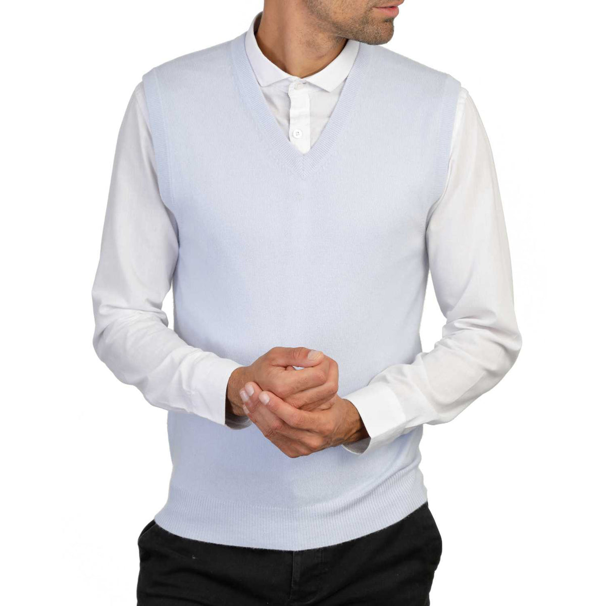 Mens Pale Blue Cashmere Sleeveless Vest Sweater | Front | Shop at The Cashmere Choice | London