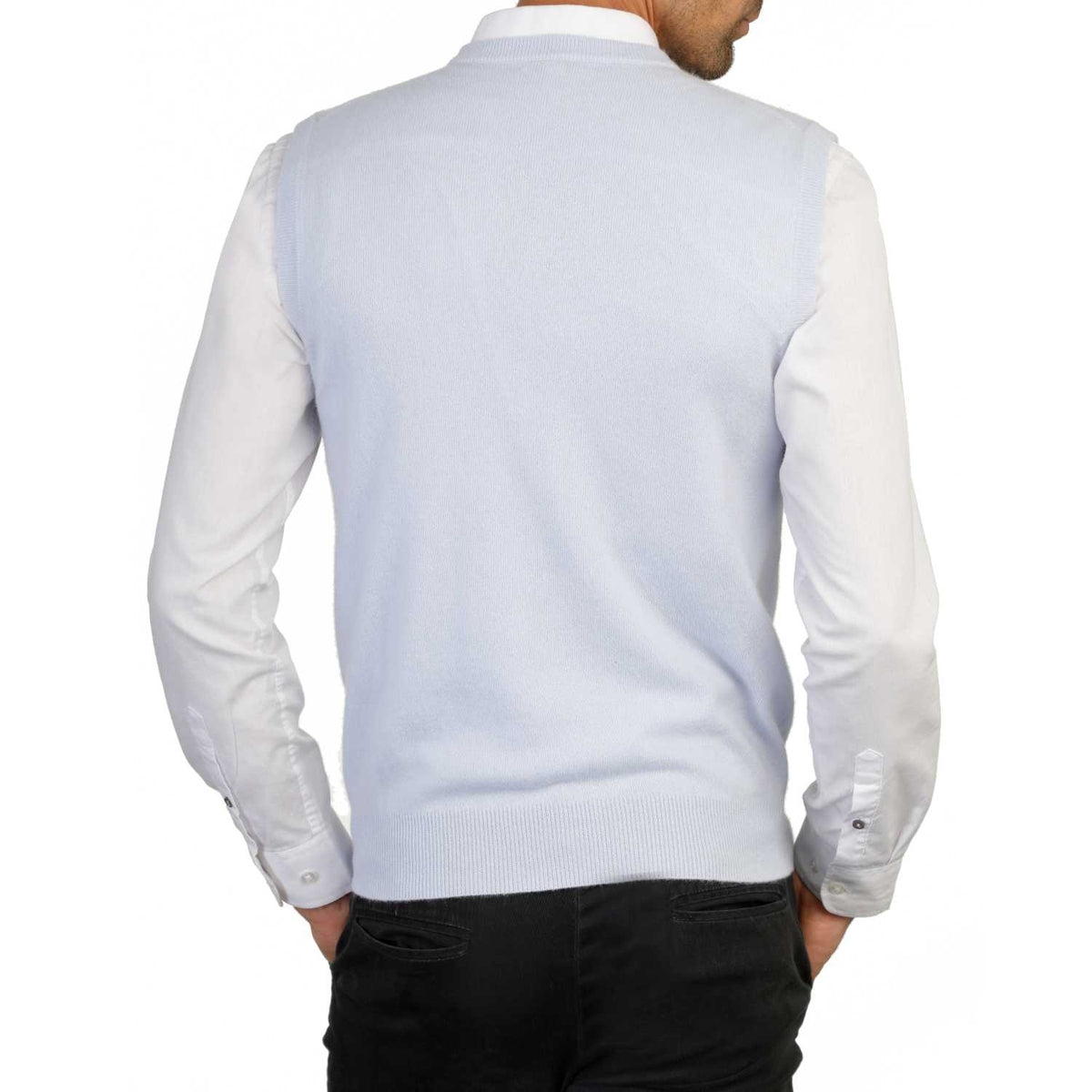 Mens Pale Blue Cashmere Sleeveless Vest Sweater | Back | Shop at The Cashmere Choice | London