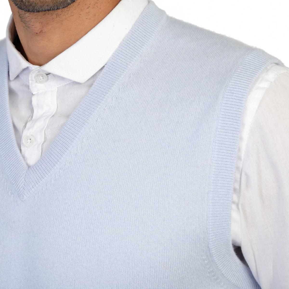 Mens Pale Blue Cashmere Sleeveless Vest Sweater | Close up | Shop at The Cashmere Choice | London