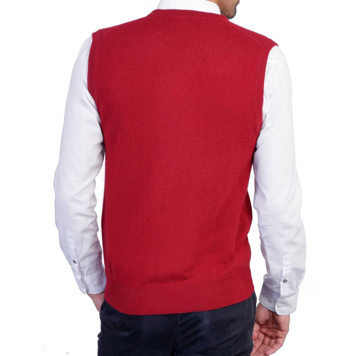 Mens Burgundy Wine Cashmere Sleeveless Vest Sweater | Back | Shop at The Cashmere Choice | London