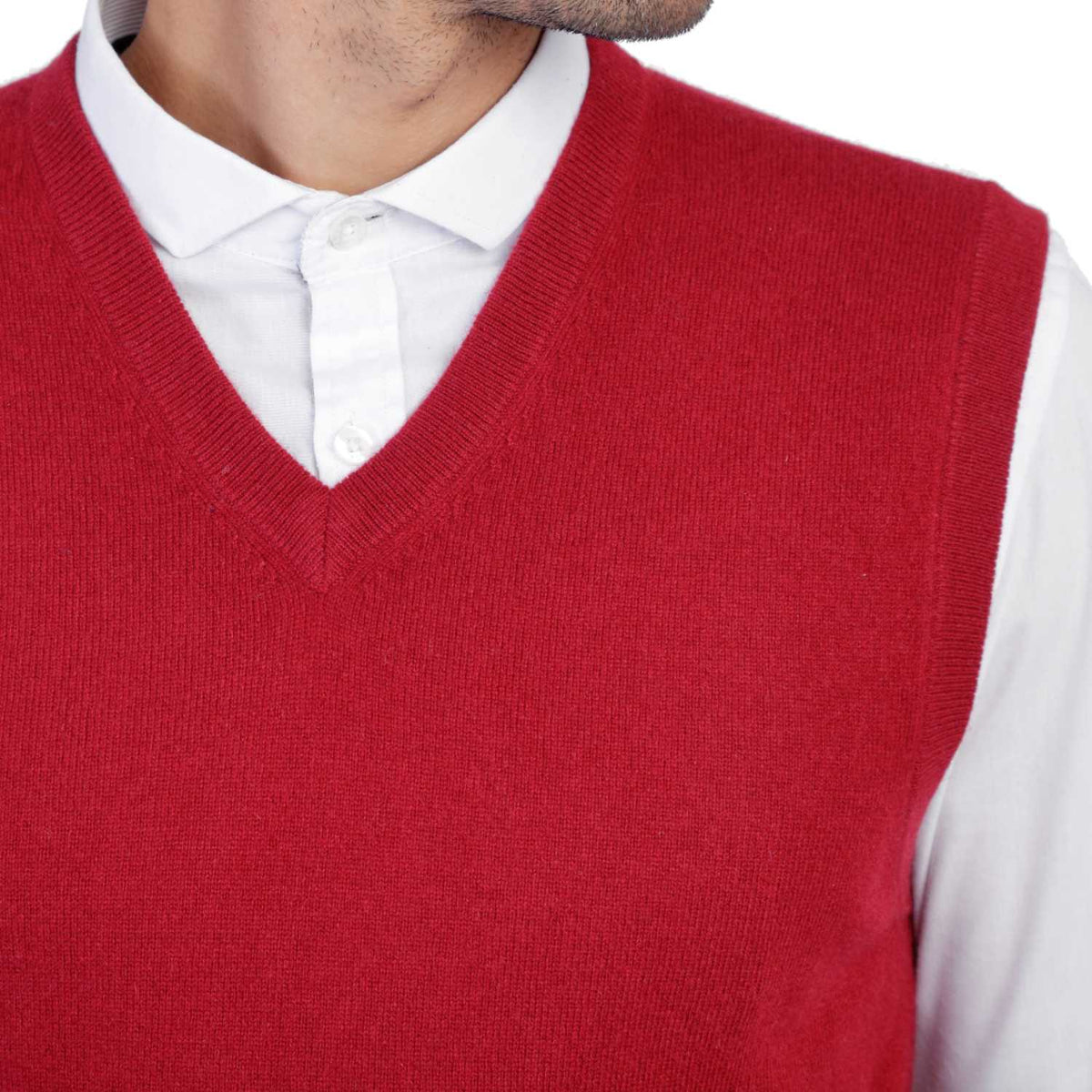 Mens Burgundy Wine Cashmere Sleeveless Vest Sweater | Close up | Shop at The Cashmere Choice | London
