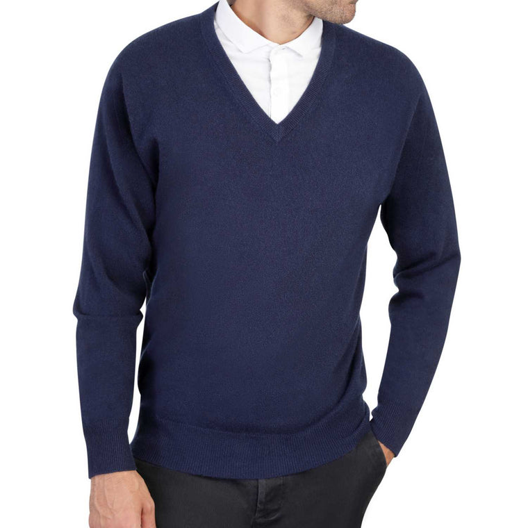 Mens Navy Blue Cashmere V Neck Sweater | Front | Shop at The Cashmere Choice | London