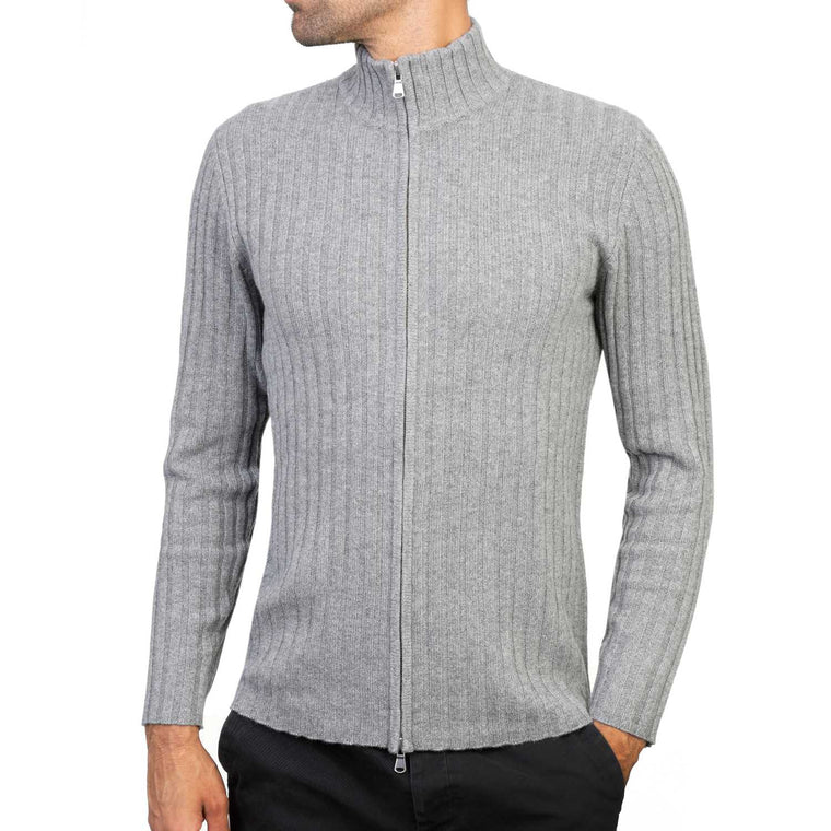 Mens Grey Cashmere Zip Cardigan | Front | Shop at The Cashmere Choice | London