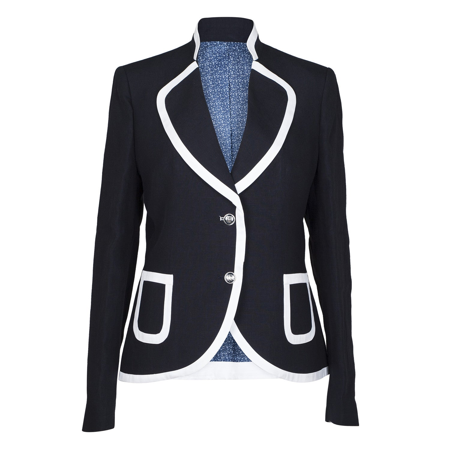 Tinta Style - Ladies Blue Smart Linen Jacket - Lyon