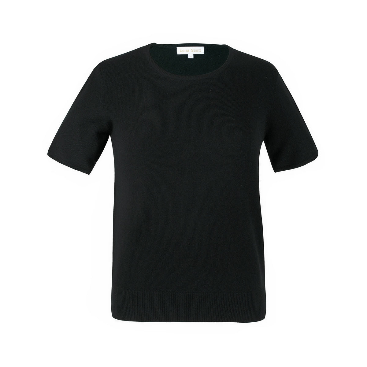 Ladies Black Cashmere Sweater | Short Sleeve | The Cashmere Choice London