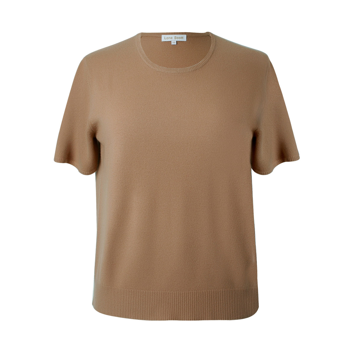 Ladies Camel Cashmere Sweater | Short Sleeve | The Cashmere Choice London