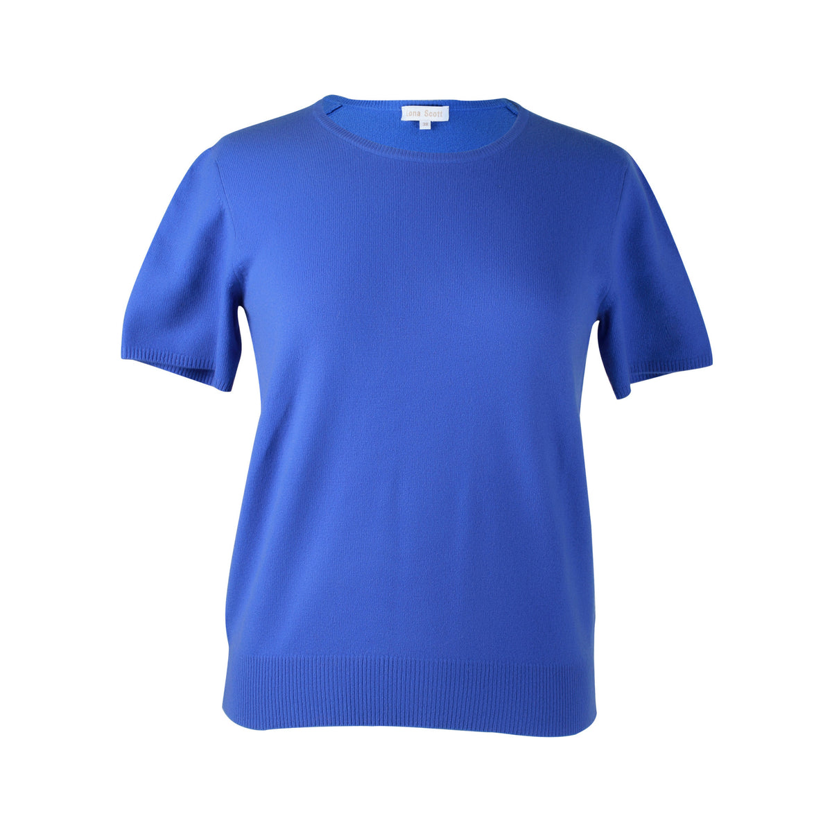 Ladies Blue Cashmere Sweater | Short Sleeve | The Cashmere Choice London
