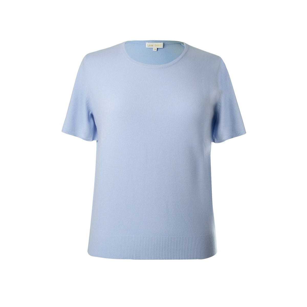 Ladies Sky Blue Cashmere Sweater | Short Sleeve | The Cashmere Choice London