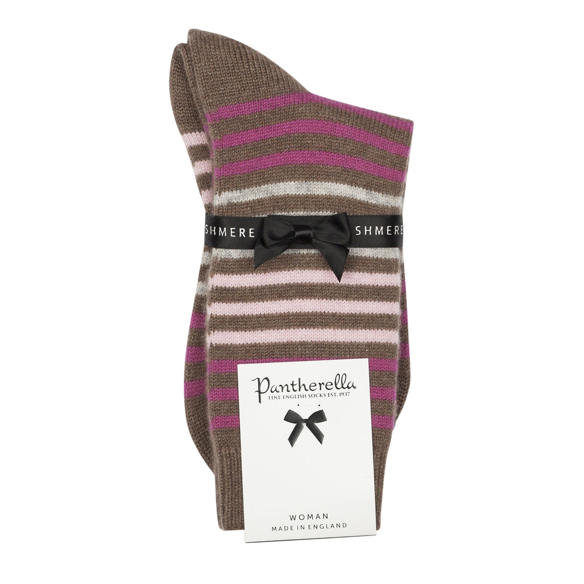 Striped Ladies Cashmere Socks | Brown Ankle Sock | buy now at The Cashmere Choice London