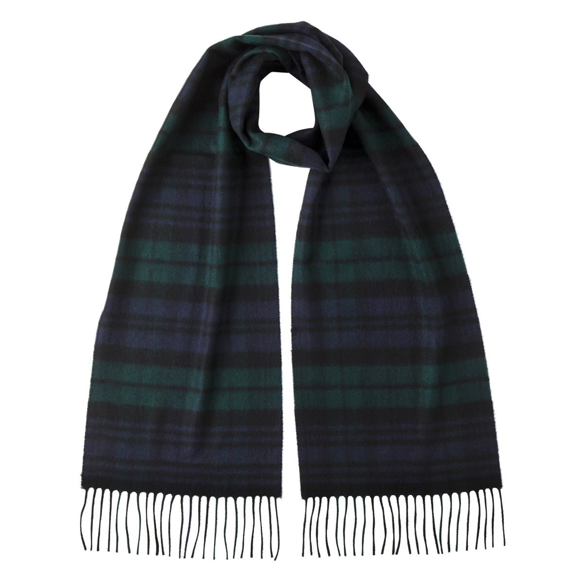 Johnsons of Elgin | Black Watch Tartan Check Cashmere Scarf | buy at The Cashmere Choice | London