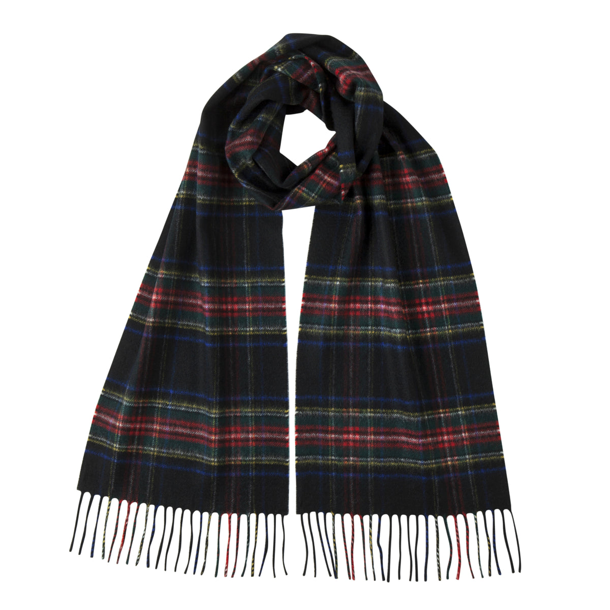 Johnsons of Elgin | Black Stewart Tartan Check Cashmere Scarf | buy at The Cashmere Choice | London