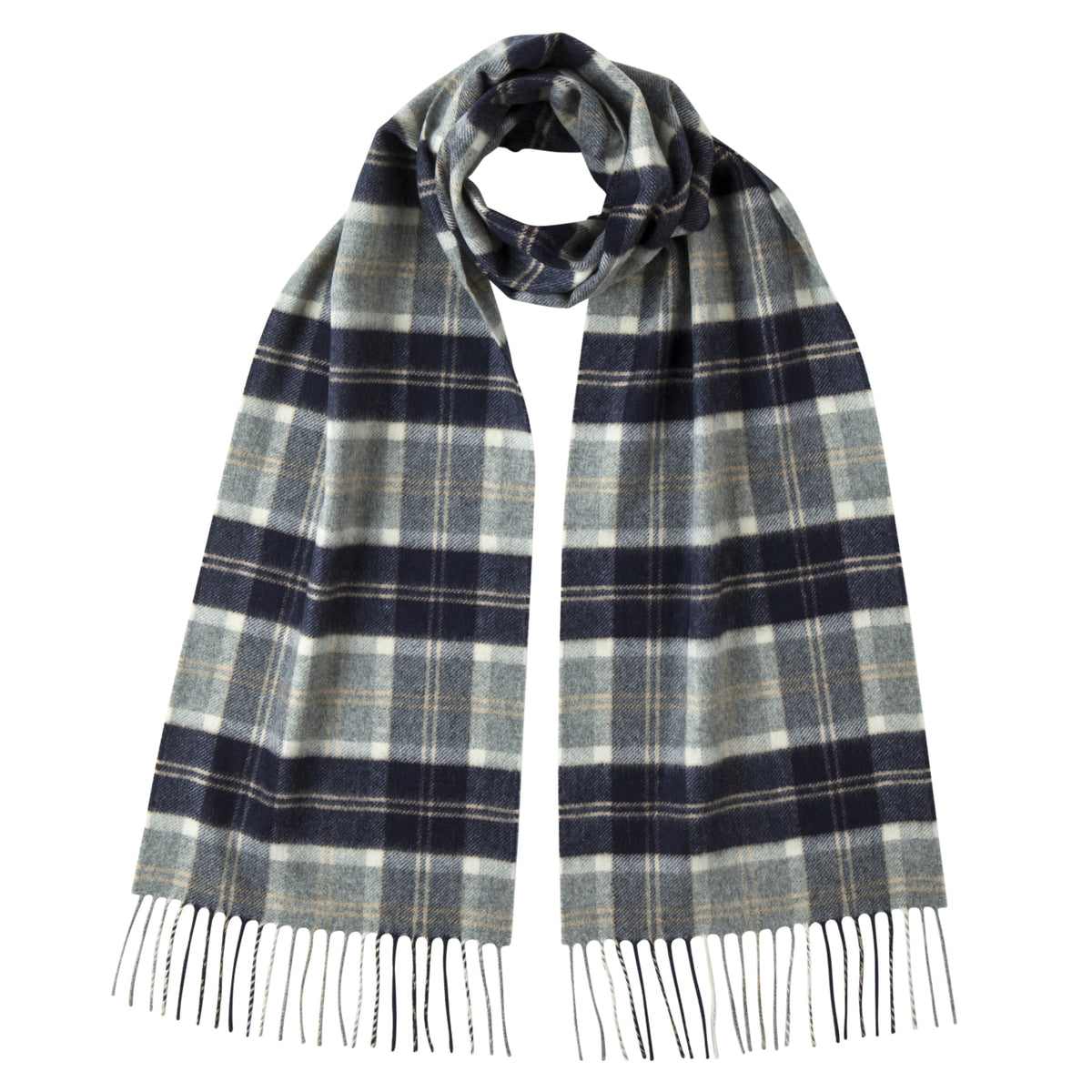 Johnsons of Elgin | Silver Bannockbane Tartan Check Cashmere Scarf | buy at The Cashmere Choice | London