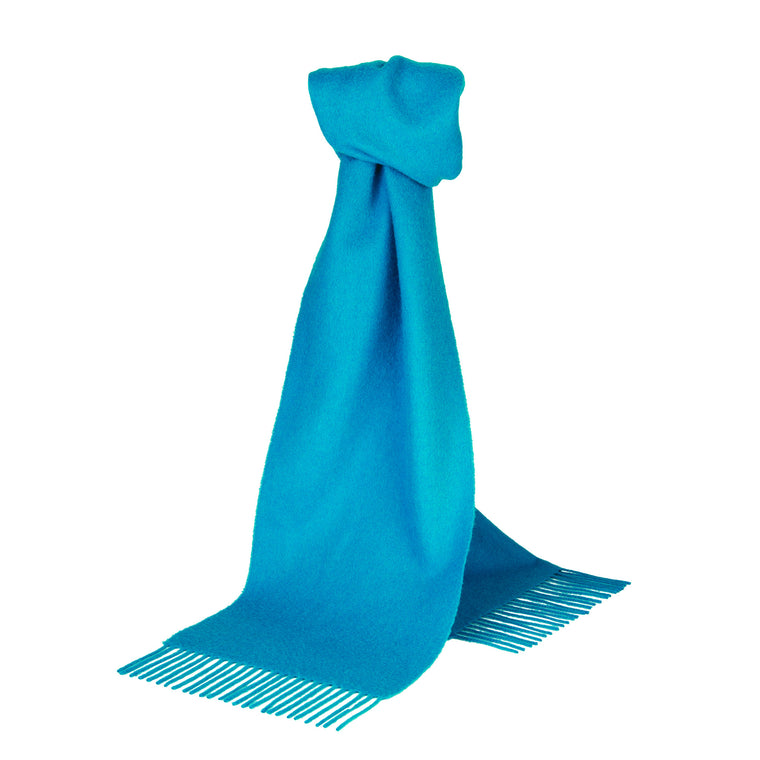 Johnsons of Elgin | Aqua Blue Lambswool Scarf | buy at The Cashmere Choice | London