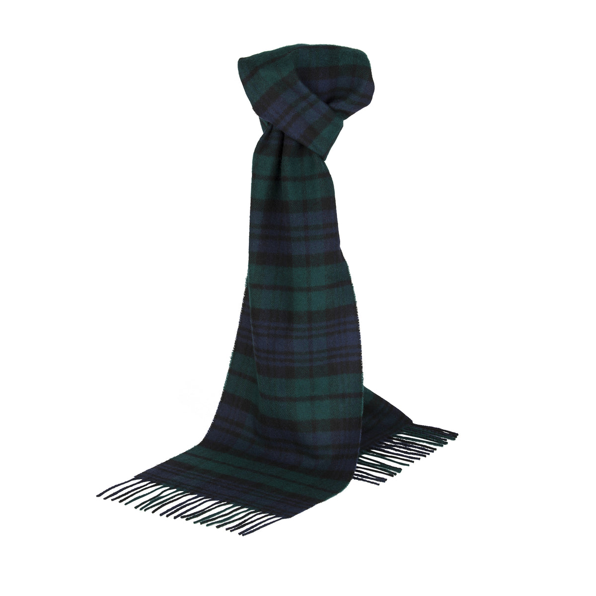Johnsons of Elgin | Black Watch Tartan Check Lambswool Scarf | buy at The Cashmere Choice | London