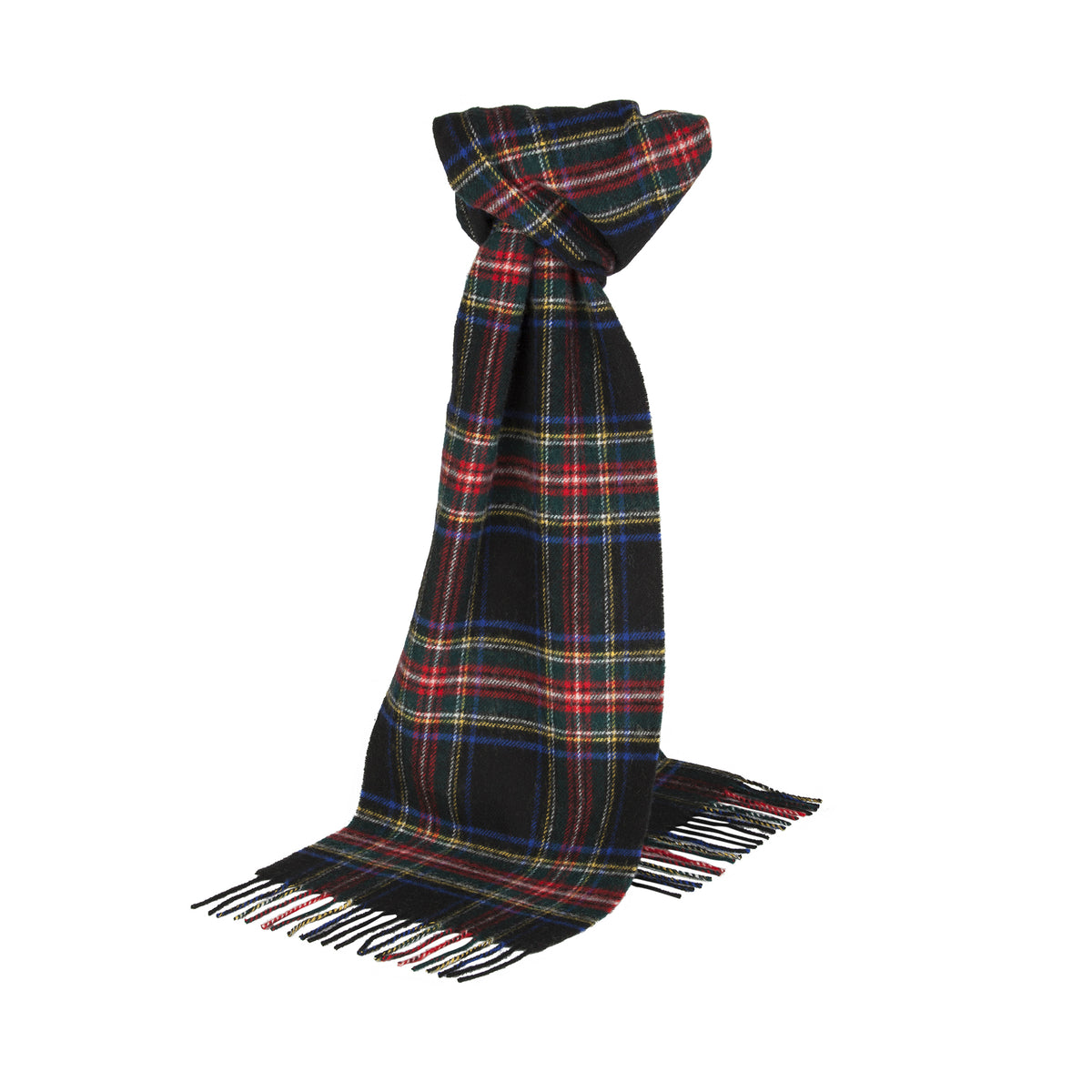 Johnsons of Elgin | Black Stewart Tartan Check Lambswool Scarf | buy at The Cashmere Choice | London