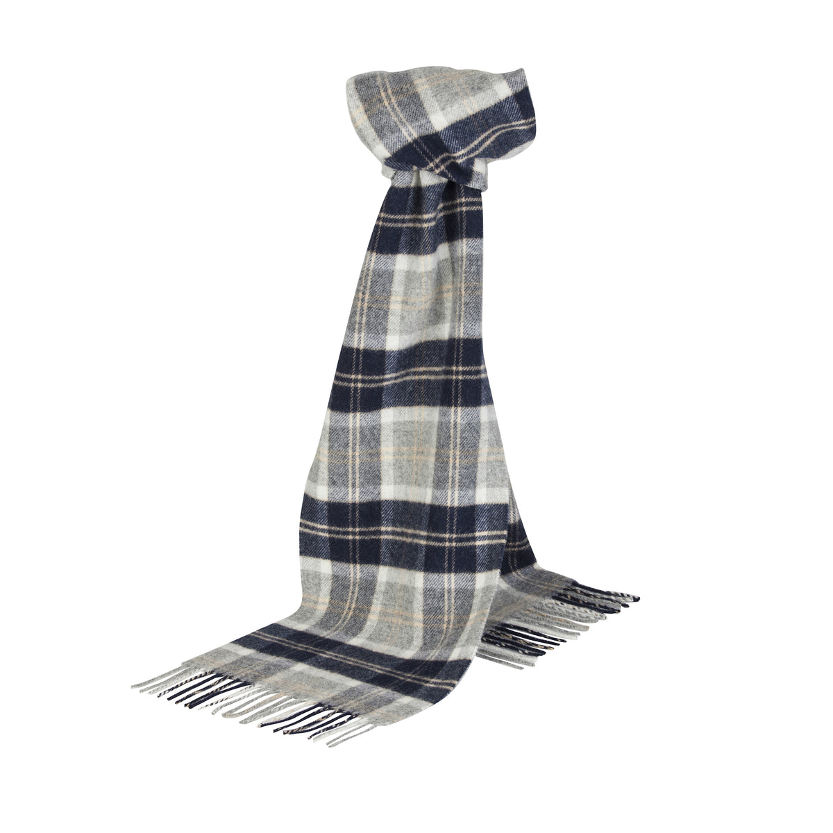 Johnsons of Elgin | Silver Bannockbane Tartan Check Lambswool Scarf | buy at The Cashmere Choice | London