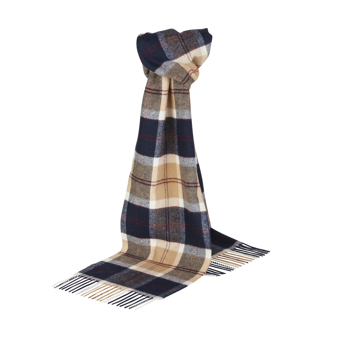 Johnsons of Elgin | Navy Bannockbane Tartan Check Lambswool Scarf | buy at The Cashmere Choice | London