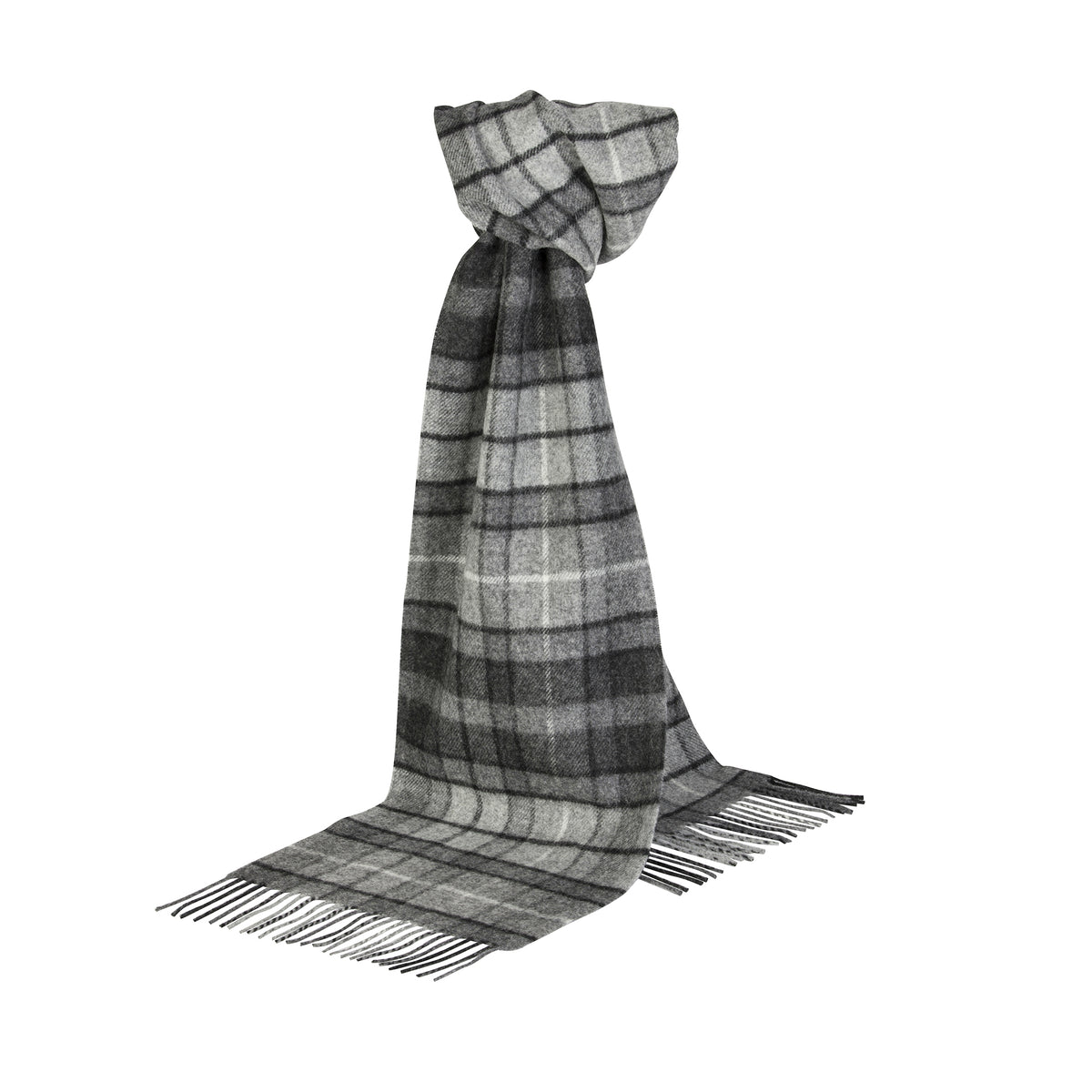 Johnsons of Elgin | Grey Buchanan Tartan Check Lambswool Scarf | buy at The Cashmere Choice | London