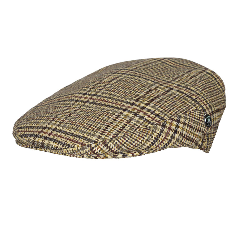 Wool flat cap | Brown Check | buy now at The Cashmere Choice London