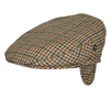 Wool flat cap with earflaps | Green Brown Check | buy now at The Cashmere Choice London
