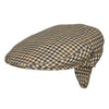 Wool flat cap with earflaps | Brown Tan Check | buy now at The Cashmere Choice London