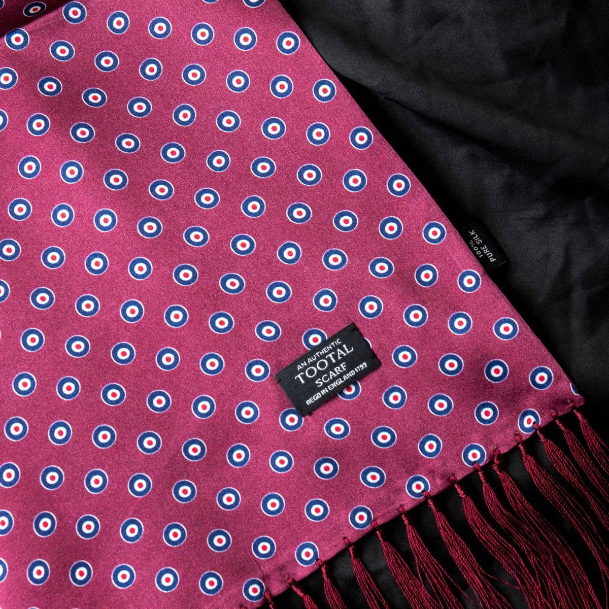 Tootal Vintage | Wine Red Circular Print Silk Scarf | buy now at The Cashmere Choice London