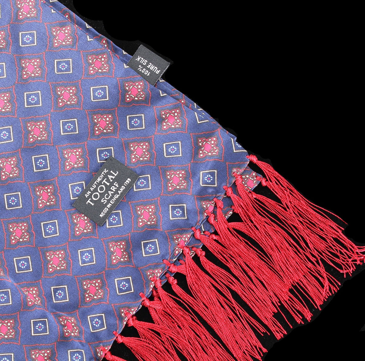 Tootal Vintage | Navy Blue Diamond Tile Print Scarf | buy now at The Cashmere Choice London