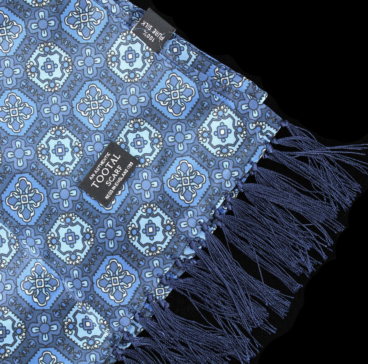 Tootal Vintage | Blue Small Tile Print Scarf | buy now at The Cashmere Choice London