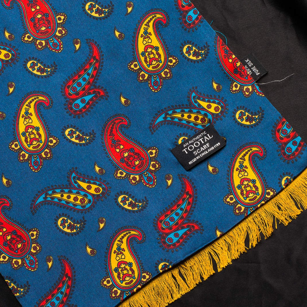 Tootal Vintage | Open Paisley with Gold  Brush Back Silk Scarf | buy now at The Cashmere Choice London