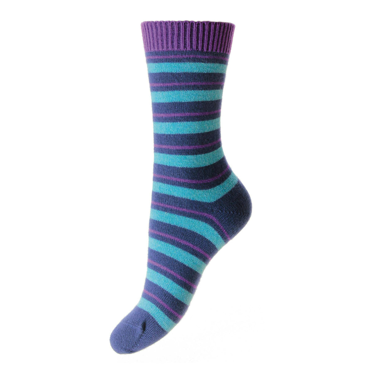 Striped Ladies Cashmere Socks | Blue Ankle Sock | buy now at The Cashmere Choice London