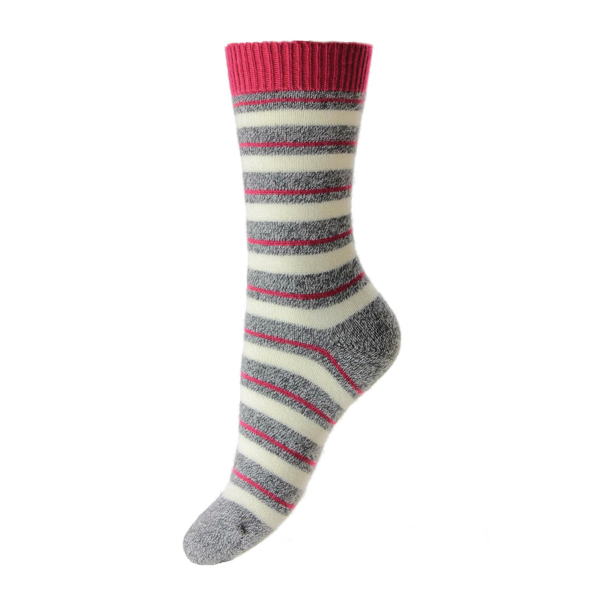 Striped Ladies Cashmere Socks | Grey Ankle Sock | buy now at The Cashmere Choice London