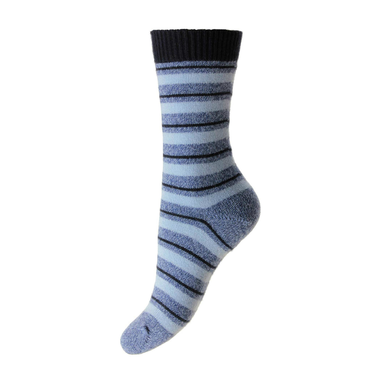 Striped Ladies Cashmere Socks | Denim Blue Ankle Sock | buy now at The Cashmere Choice London