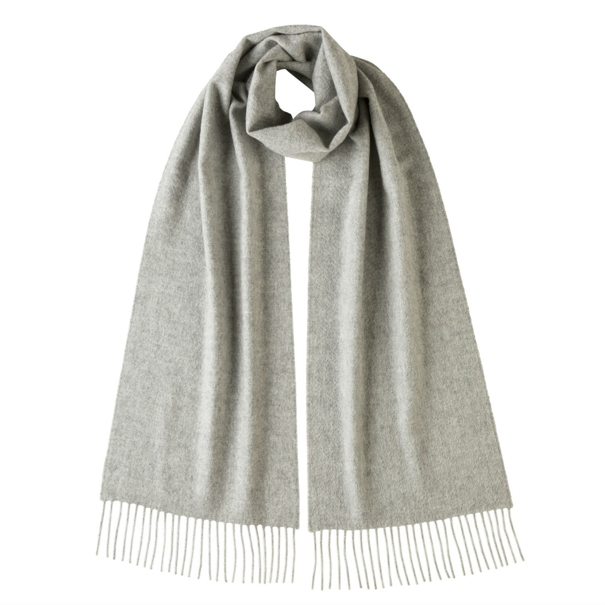 Johnsons of Elgin | Johnston Cashmere | Light Grey Cashmere Scarf | buy at The Cashmere Choice | London