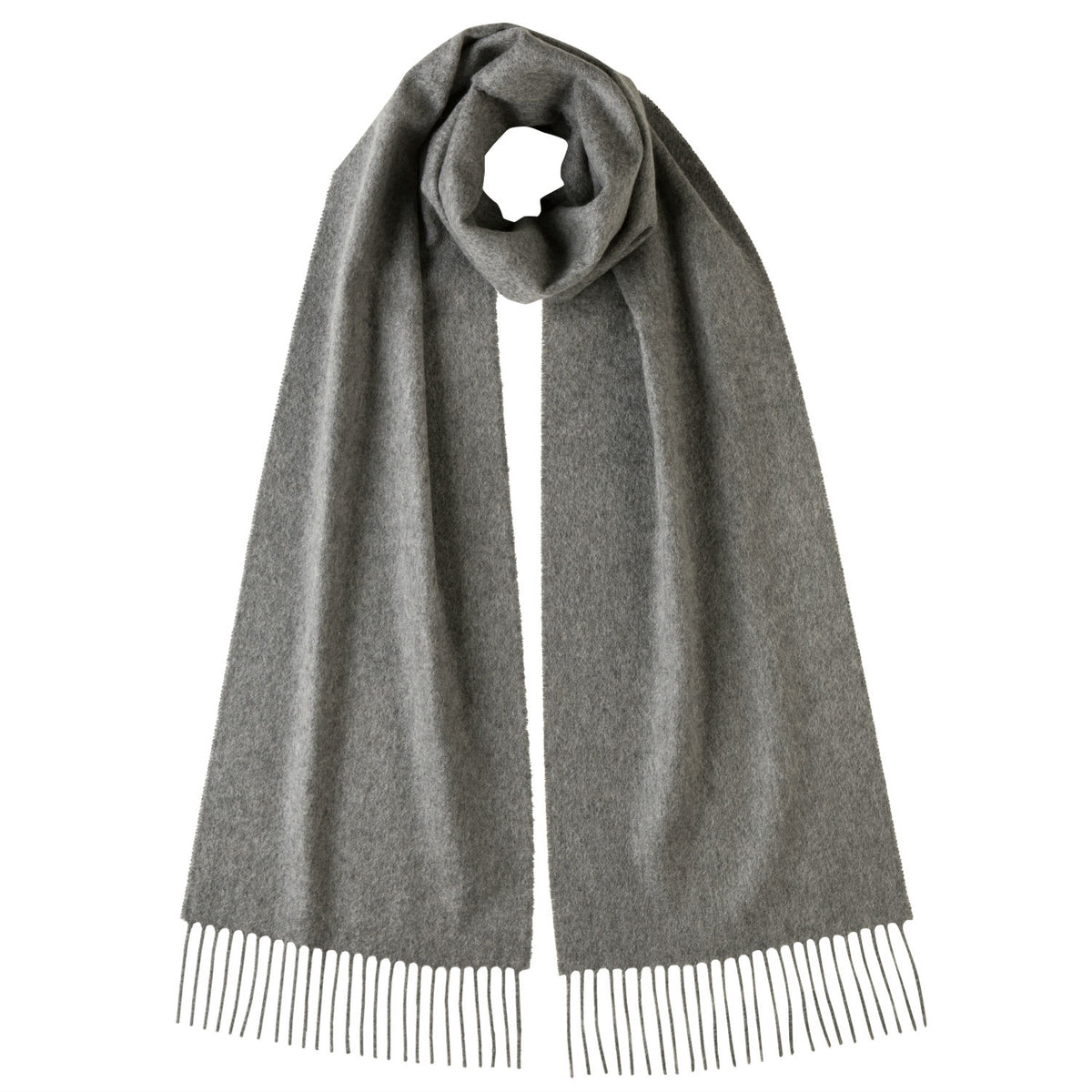 Johnsons of Elgin | Johnston Cashmere | Medium Grey Cashmere Scarf | buy at The Cashmere Choice | London