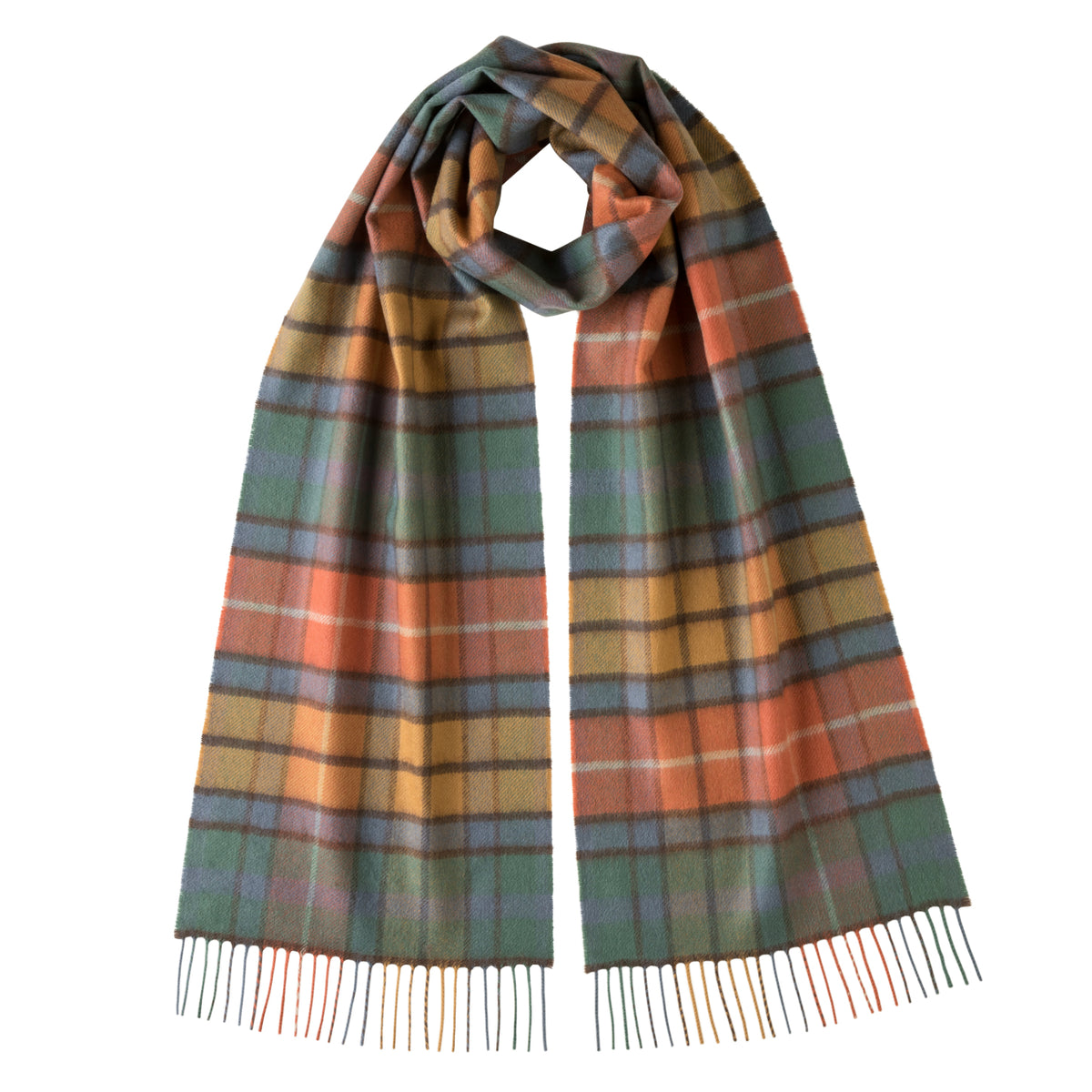 Johnsons of Elgin | Antique Buchana Tartan Check Cashmere Scarf | buy at The Cashmere Choice | London