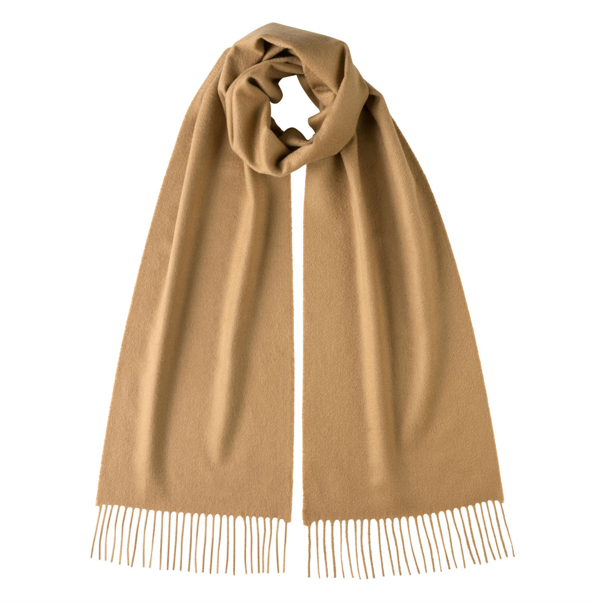 Johnsons of Elgin | Johnston Cashmere | Camel Beige Cashmere Scarf | buy at The Cashmere Choice | London
