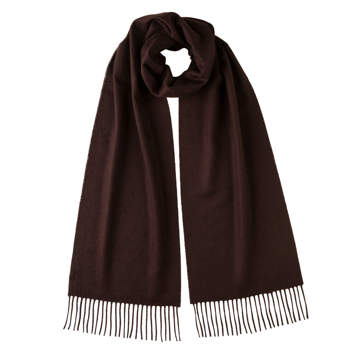 Johnsons of Elgin | Johnston Cashmere | Chocolate Brown Cashmere Scarf | buy at The Cashmere Choice | London