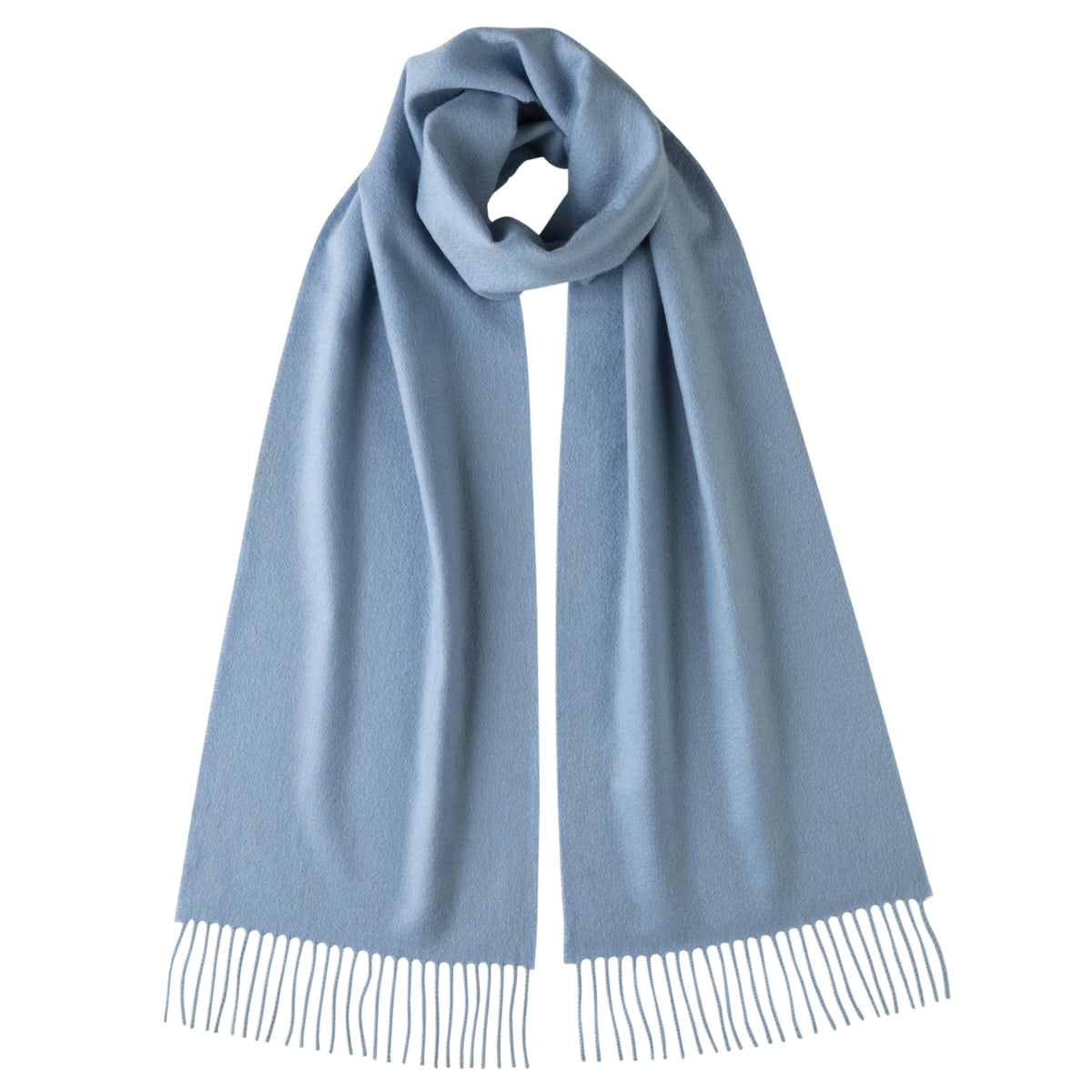Johnsons of Elgin | Johnston Cashmere | Light Blue Cashmere Scarf | buy at The Cashmere Choice | London