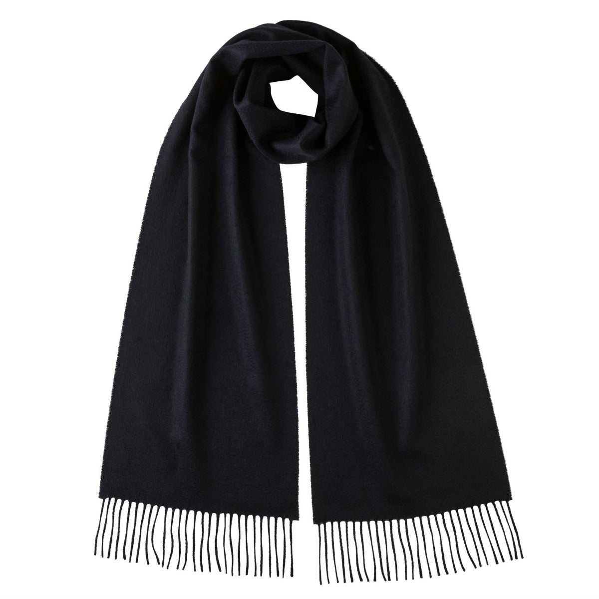 Johnsons of Elgin | Johnston Cashmere | Navy Blue Cashmere Scarf | buy at The Cashmere Choice | London