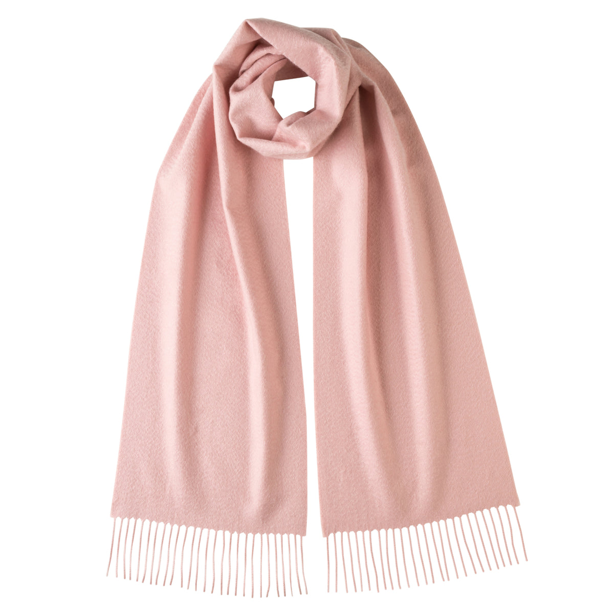 Johnsons of Elgin | Johnston Cashmere | Light Pink Cashmere Scarf | buy at The Cashmere Choice | London