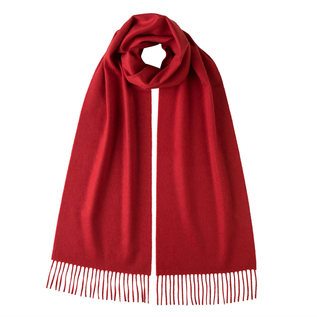Johnsons of Elgin | Johnston Cashmere | Red Cashmere Scarf | shop now at The Cashmere Choice | London
