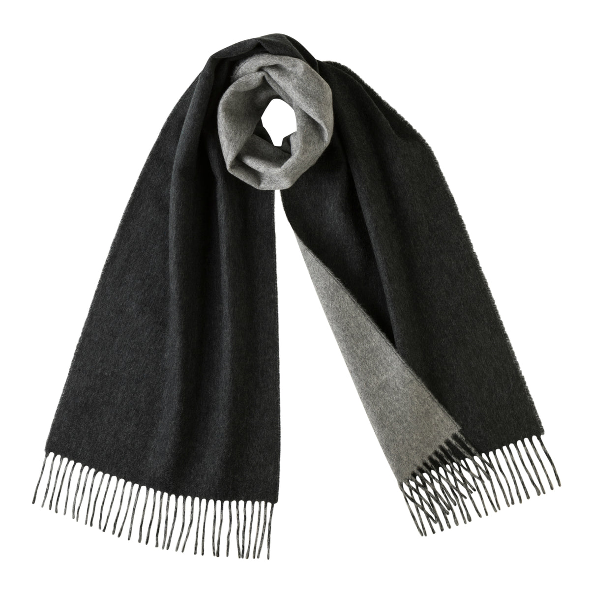 Johnsons of Elgin | Johnstons Cashmere | Charcoal Grey Reversible Cashmere Scarf | buy at The Cashmere Choice | London