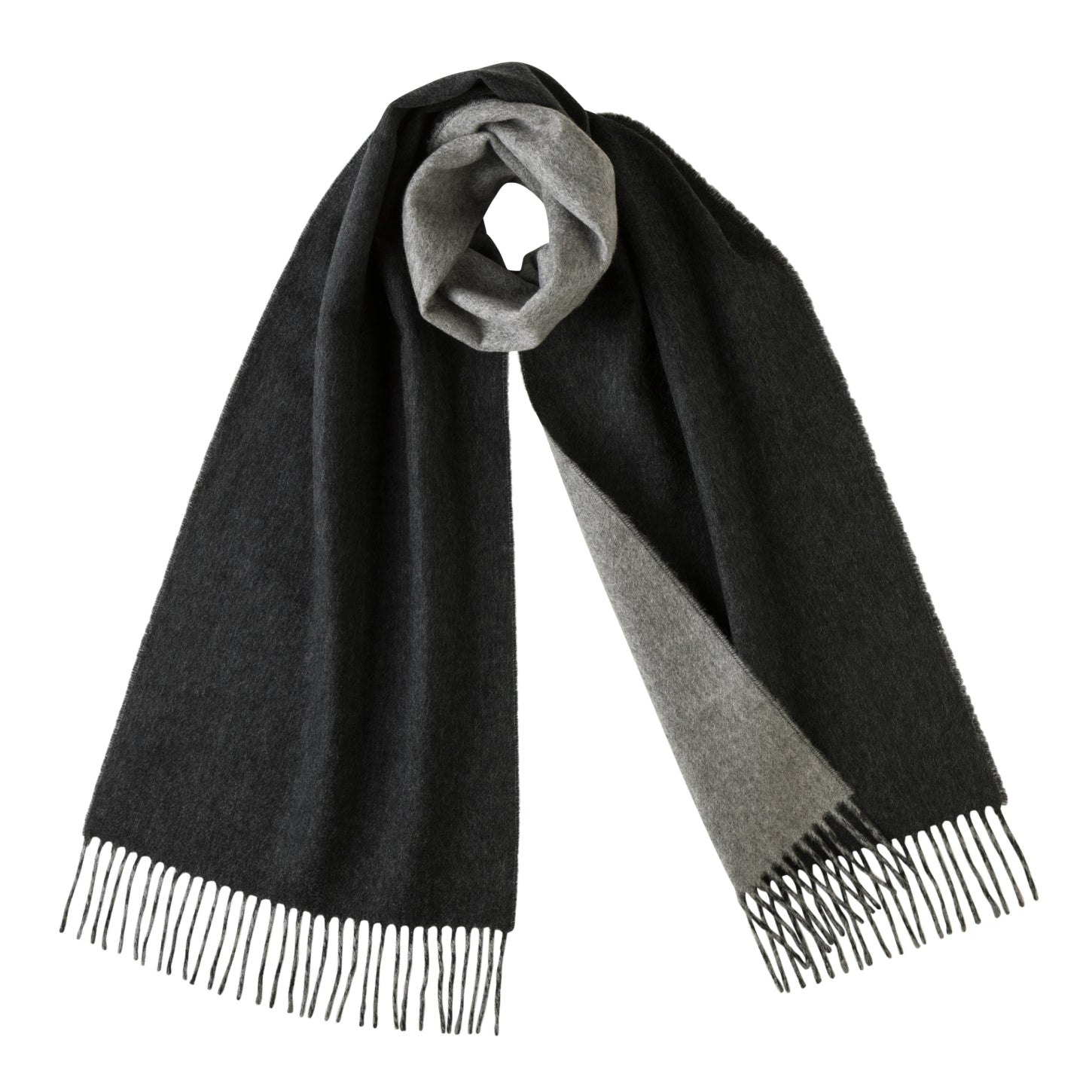 339b0e70ff87c8 ... Johnsons of Elgin | Johnstons Cashmere | Charcoal Grey Reversible  Cashmere Scarf | buy at The ...