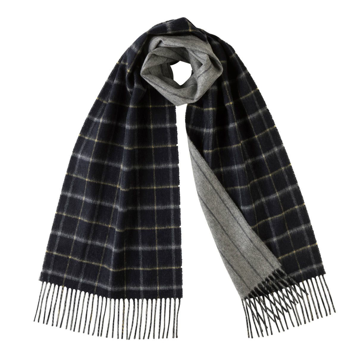Johnsons of Elgin | Johnstons Cashmere | Double Windowpane Blue Grey Reversible Cashmere Scarf | buy at The Cashmere Choice | London
