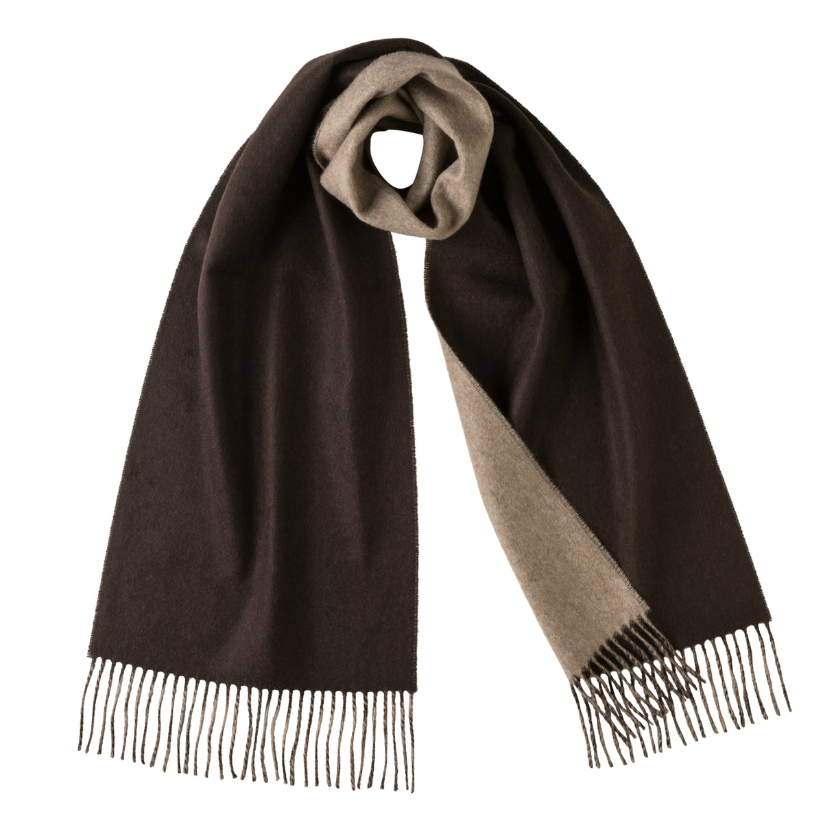 Johnsons of Elgin | Johnstons Cashmere | Brown Beige Reversible Cashmere Scarf | buy at The Cashmere Choice | London
