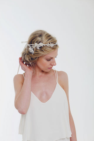 Blue Meadow Bridal, Olivia Halo, Lace, Freshwater Pearls, Rhinestones