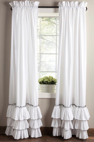 Pearl Edged Kimberly Ruffled Curtain (WHITE base)